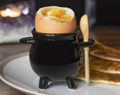 Witches Cauldron Egg Cup by Black Magic, Wooden Broom Spoon China Gift Boxed