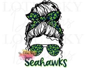 Seahawks Leopard Messy Bun | Instant Download | SVG and PNG Files | Seattle