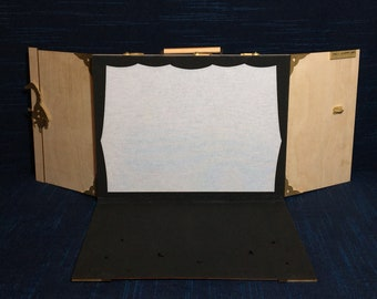 Shadow theater, stage box and puppets, wood, wire