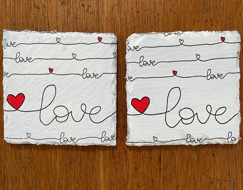 Love Decoupaged Slate Coasters