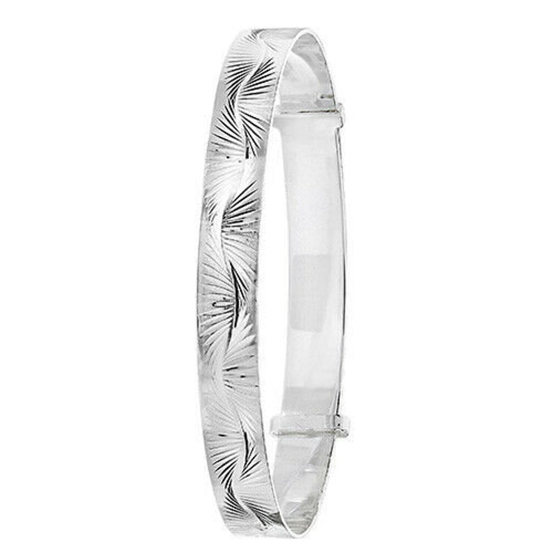 925 Sterling Silver Solid Ladies Patterned Adjustable Expand Womens Mum Bangle