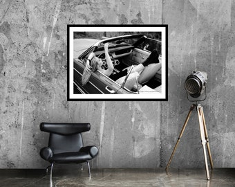 Mustang girl art print   Black and white art   Musclecar poster   Photography poster   Léon Wodtke