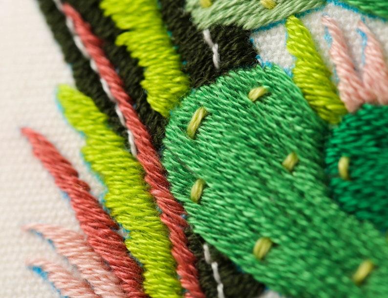 Beginner Embroidery Kit  Tropical Cactus Embroidery Kit  Embroidery DIY Craft Kit  Modern Embroidery Needlework Kit