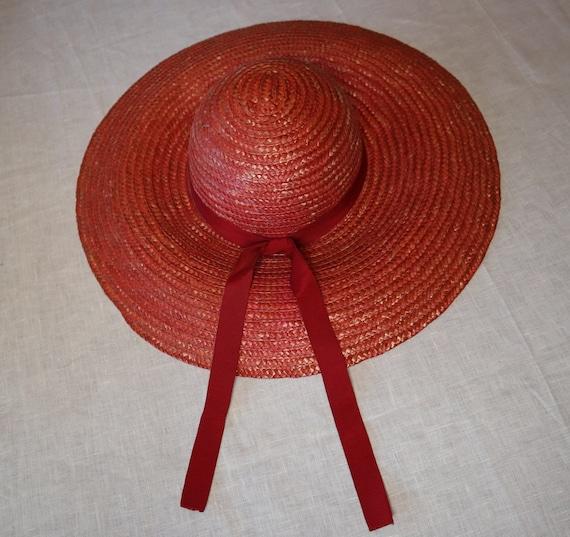 Wide Brimmed Red Straw Sun Hat