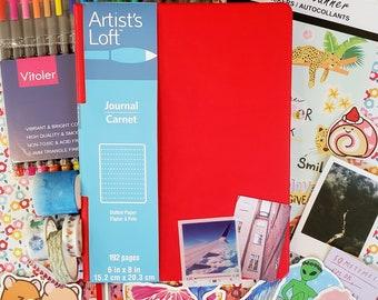 The Ultimate Bullet Journal Starter Kit, Mental Health Journal, Gift Set - Red Bullet Journal