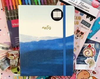The Ultimate Bullet Journal Starter Kit, Mental Health Journal, Gift Set - Blue Watercolor Journal