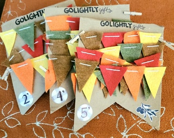 Mini fall bunting banner in red, yellow, orange, maroon, brown and green