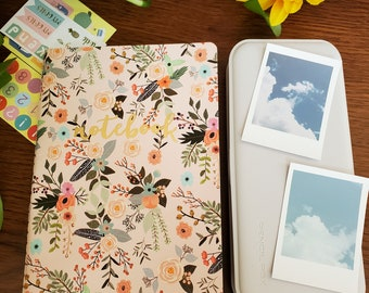 Floral journal starter kit. Journal supplies, floral notebook, stickers, washi, pencils, pens, highlighters, white out, eraser