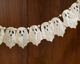 Vintage book page ghost banner. Decorative banner, Halloween, vintage book pages