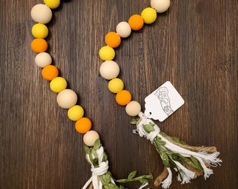 Wooden bead garland, farmhouse beads, farmhouse décor, tiered tray décor, natural wood garland, Halloween colors, candy corn colors