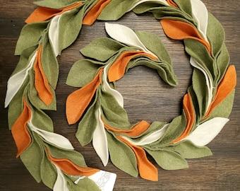 Felt magnolia garland, leaf garland, banner, fall decor, fall garland, centerpiece