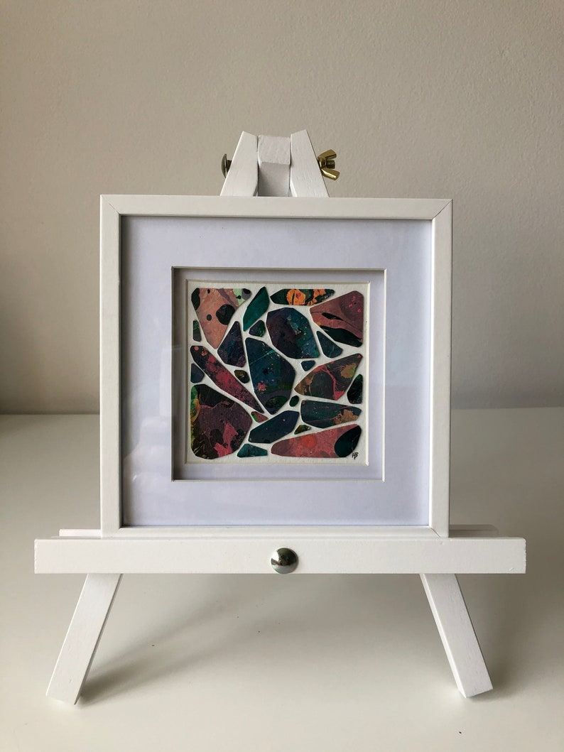 Pebble XIII  Original wall art marbled collage with frame image 0