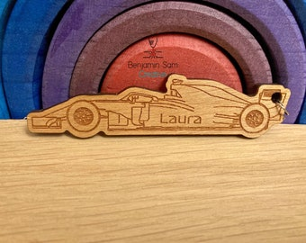 Personalised Formula 1 style keyring, engraved with name, F1 gift, car racing gift. Fathers Day gift, Gift for Dad, Gift for Grandad