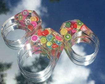 fruit salad rings, resin rings, colorful rings, fruit rings