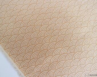 Textured Japanese Seigaiha Wave Tangerine — By Half Metre