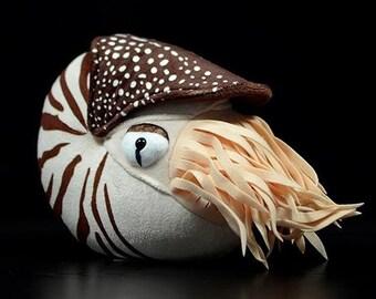 Nautilus Plush Toy   Mollusc Soft Toy   Stuffed Cephalopod Animal Toy    20cm   8 Inches