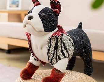 Schwarz Französisch Bulldog Kuscheltier Weich Süß Realistisch Optik Plüsch