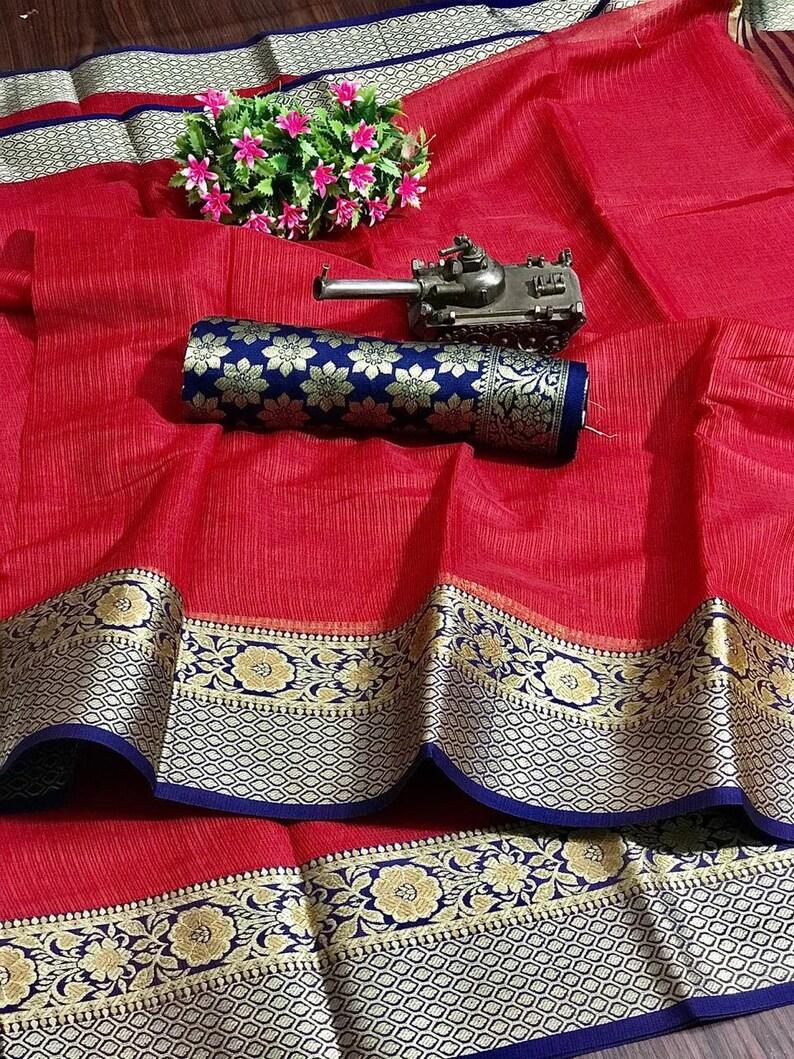 Cotton Kota Doriya Handloom  Handwoven Saree SariIndian DressFabric Yard Saree