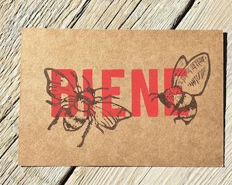 "Postcard ""Bee/Red List"" linocut"