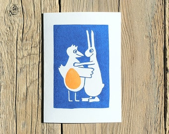 """Map linocut """"Love is in the Egg"""""""