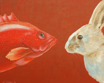 """Art Print """"To You or To Me"""" Bunny"""