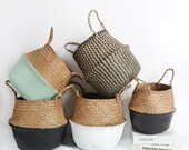 Seagrass Baskets wicker hanging flower pot baskets storage flower home