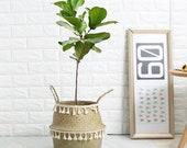 Wicker Basket garden flower Pot Laundry Basket Container Toy Holder With White Tassel