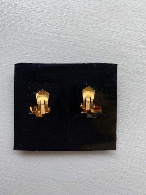 Lanvin earrings vintage clips, 1950s gold metal, … - image 2