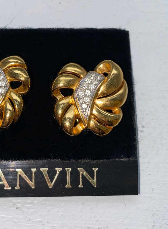 Lanvin earrings vintage clips, 1950s gold metal, … - image 3