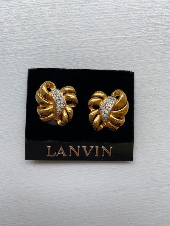 Lanvin earrings vintage clips, 1950s gold metal, … - image 1