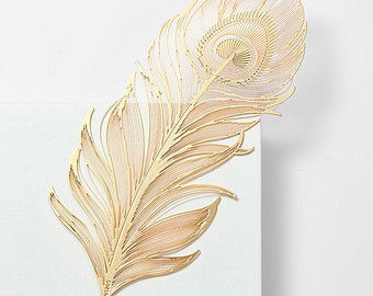 lucky Feather Bookmark,Gold Plated bookmark,Metal bookmark, Japanese gifts, bookmarks, book accessories, bookworms, book lovers gift,