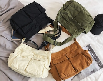 Casual Crossbody Bag, Washed Canvas Pockets Shoulder Bag, Shoulder Bag School Student Bag, Messenger Shoulder Korean Bag School