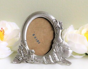 Pewter photo  frame, Seagull Canada pewter, Child's picture frame with mother goose and teddy bears, Vintage baby gift, Signed by artist,