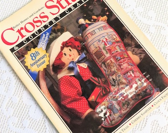 Christmas cross stitch magazine, Vintage cross stitch, July Aug. 1993, Christmas stocking pattern, Sampler needlework patterns, Craft book