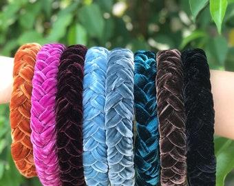Luxury velvet braided headband Handmade velvet headband hairband for women