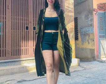 Silk Velvet Coat,Luxurious Silk Velvet Duster Coat with pocket