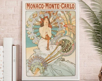 Monaco - Monte Carlo - Alphonse Mucha Poster - Alphonse Mucha print - Art Nouveau - Art Nouveau Poster - Monaco Poster - Monte Carlo poster
