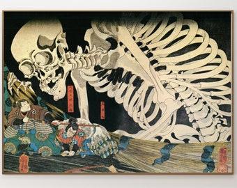 Skeleton by Utagawa Kuniyoshi (1753-1806) - Ukiyo-e - allegorical painting - allegories and symbols Mythology - skeletons and skulls - Skull