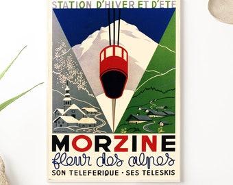 Morzine poster, flower of the Alps, 1935, AVRIL A & Rene MICHAUD - Morzine vintage poster - Ski resort poster - Winter and summer resort -