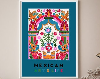 Mexican art and life derived from a 1938 magazine cover-  Mexican art print - Colorful latino art - Mexican home decor - Mexico poster -