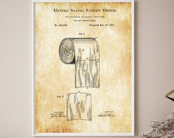 Toilet paper roll - Toilet paper Patent print - United states patent office - Wall decor bathroom - Bathroom poster - Toilet poster - gift -
