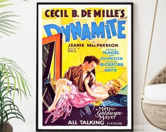 Dynamite vintage movie poster - Dynamite movie - American film directed by Cecil B. DeMille (1929) - Conrad Nagel , Charles Bickford -