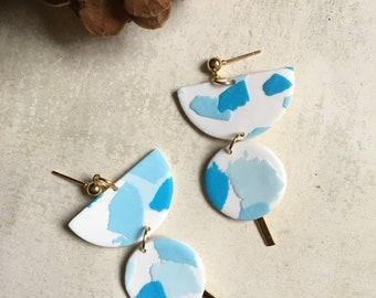 Polymer Clay earrings, Lightweight Earrings, Handmade Jewelry, White Earrings, Drop Earrings, Terrazzo Earrings,Blue earrings