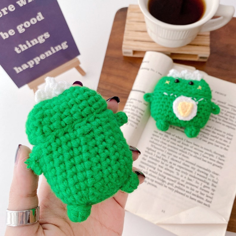 Knitted dinosaur airpods pro protective cover cartoon apple 123 bluetooth headset cover cute  christmasvalentine\u2019s day