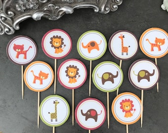 Jungle animal cupcake toppers x 12 or 24