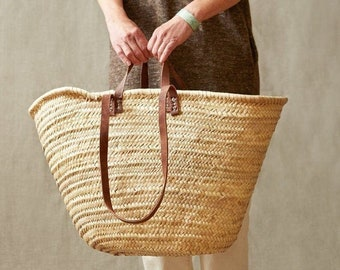 60% Off STRAW BAG Handmade with leather, French Market Basket, french market bag, Straw basket, french basket, grocery market bag