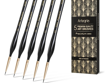ARTEGRIA Detail Paint Brush Set - 5 Miniature Paint Brushes Size Round 3/0 000 for Small Model Art Paint by Numbers - Acrylic Watercolor Oil