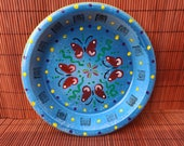 Hand painted pot saucer - quot Upside Down quot
