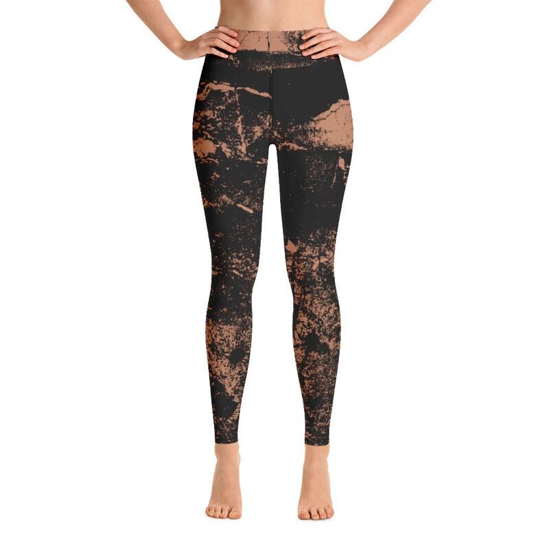 Yoga Leggings Unisex Elastic, LEGGINGS Yoga with Abstract Black Brown Beige Batik Tie-Dye Pattern Yoga Pants Sports Pants Jogging Pants