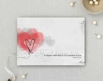 If I Know Love | Love | Valentines | Anniversary | Wedding | Artsy Card | 5x7 Greeting Card